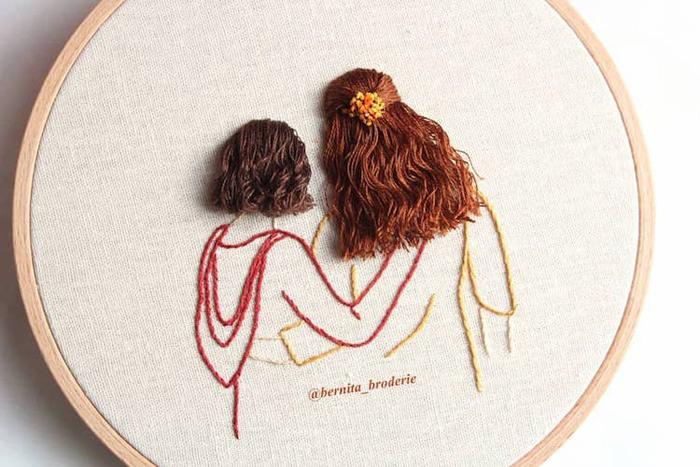 3d hair embroidery short long