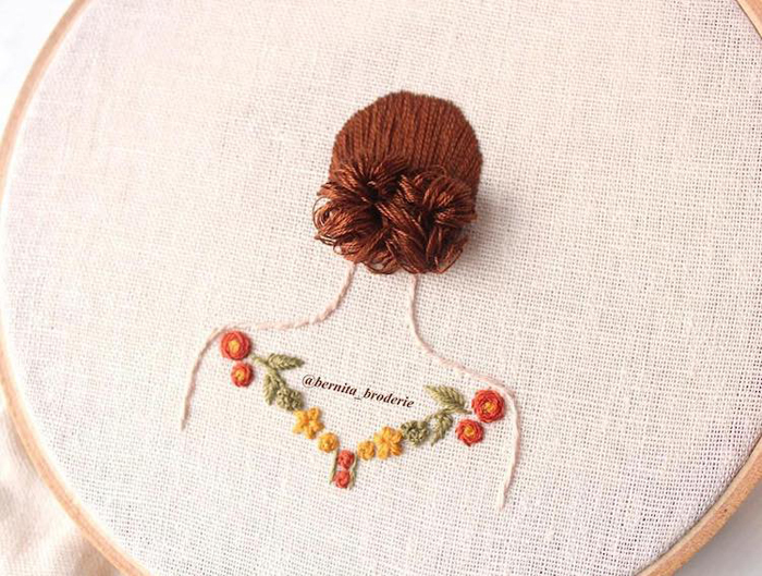 3d hair embroidery simple updo