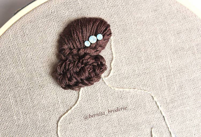 3d hair embroidery updo blue buttons