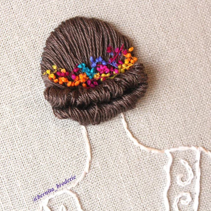 3d hair embroidery updo flower accessories