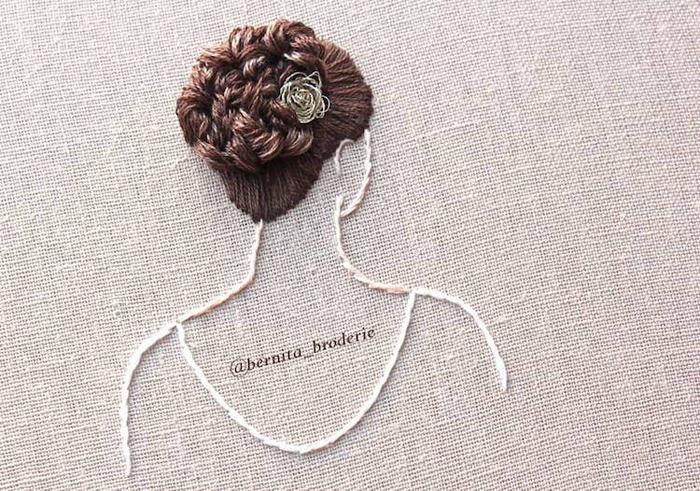 3d hair embroidery updo