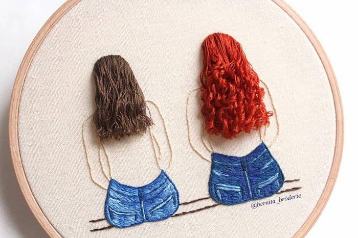 3d hair emrboidery red brown