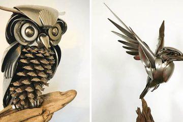 Scrap metal birds