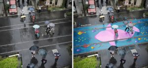 Water-Activated Street Murals