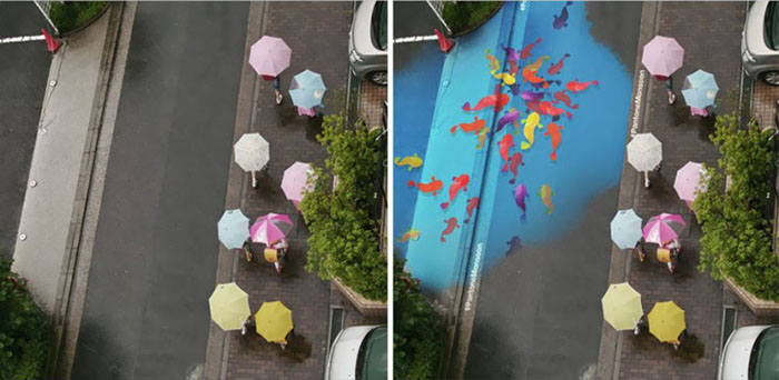 Water-Activated Street art