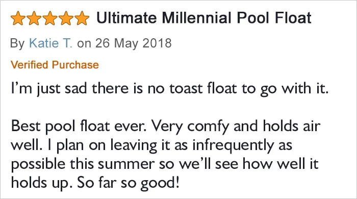 avocado-shaped pool float comment katie