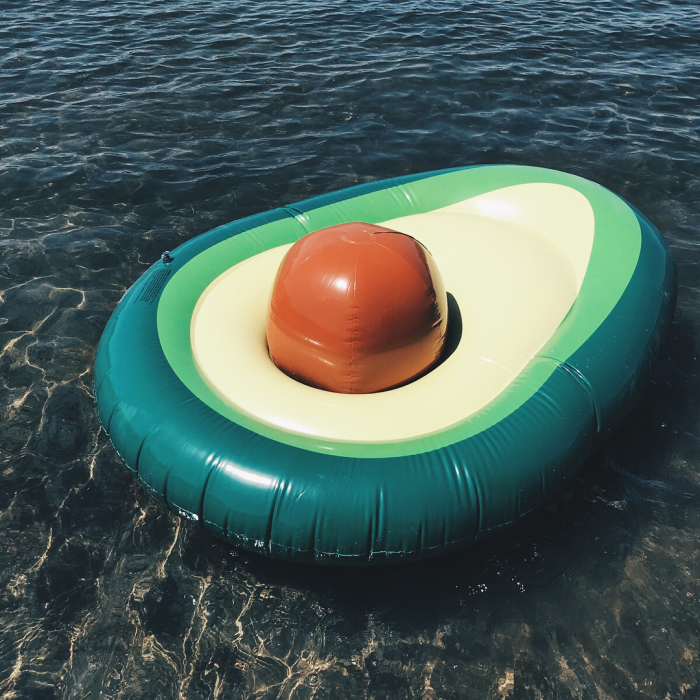 avocado-shaped pool float removable ball