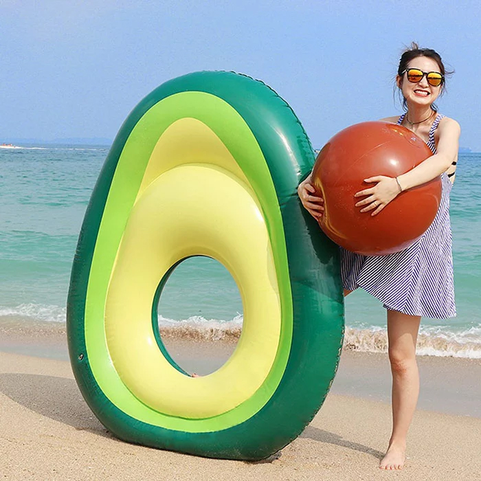 avocado-shaped pool float removable pit