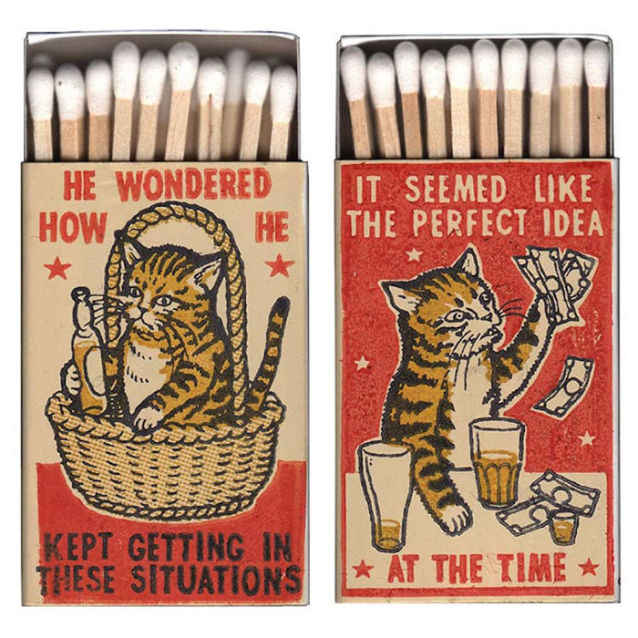 cats in a bar matchboxes