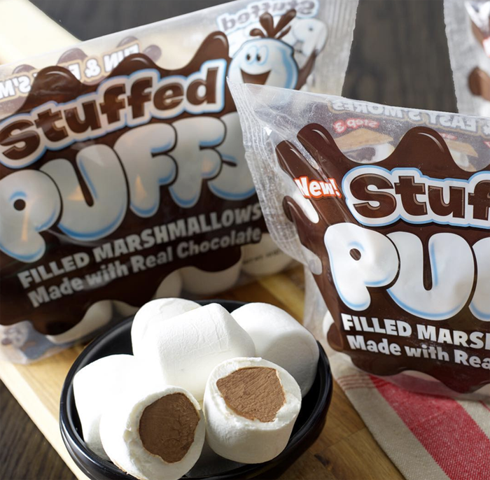 chocolate-stuffed marshmallows stuffed puffs