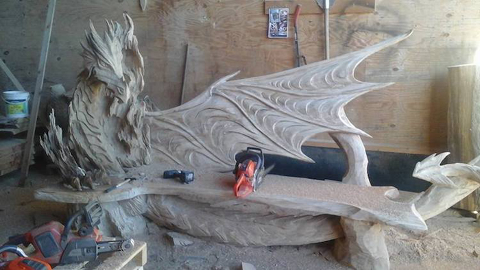 dragon bench chainsaw sculpture