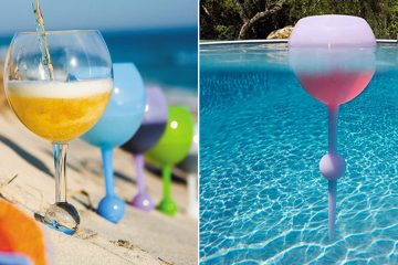floating beach wine glasses