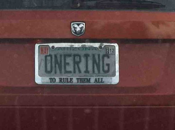 funny license plates one ring rule them all
