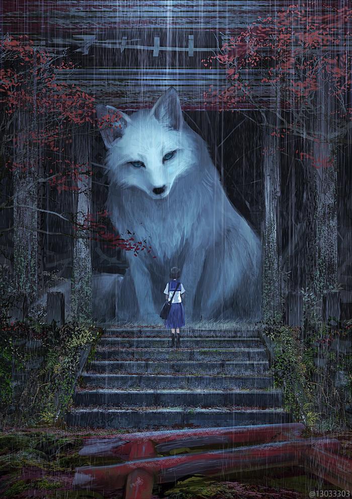 gentle giant fox illustration monokubo