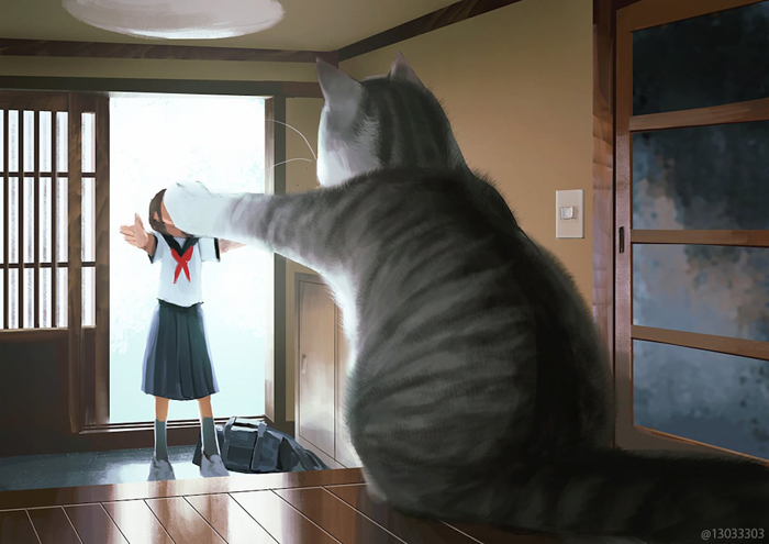 giant cat and girl monokubo art