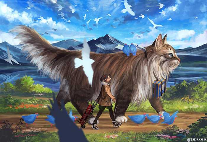 giant cat monokubo digital painting