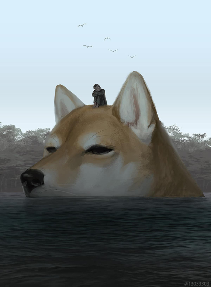 giant dog in water monokubo
