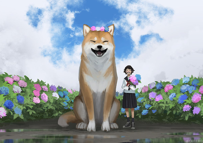 giant smiling dog monokubo art