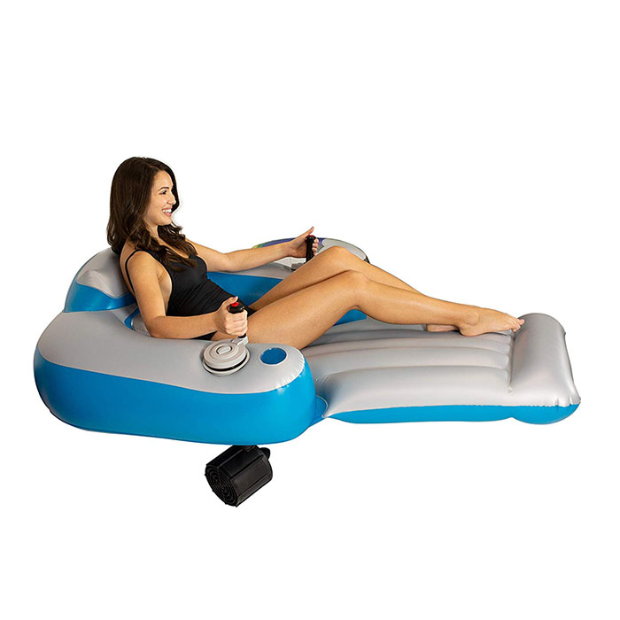 girl on inflatable lounger