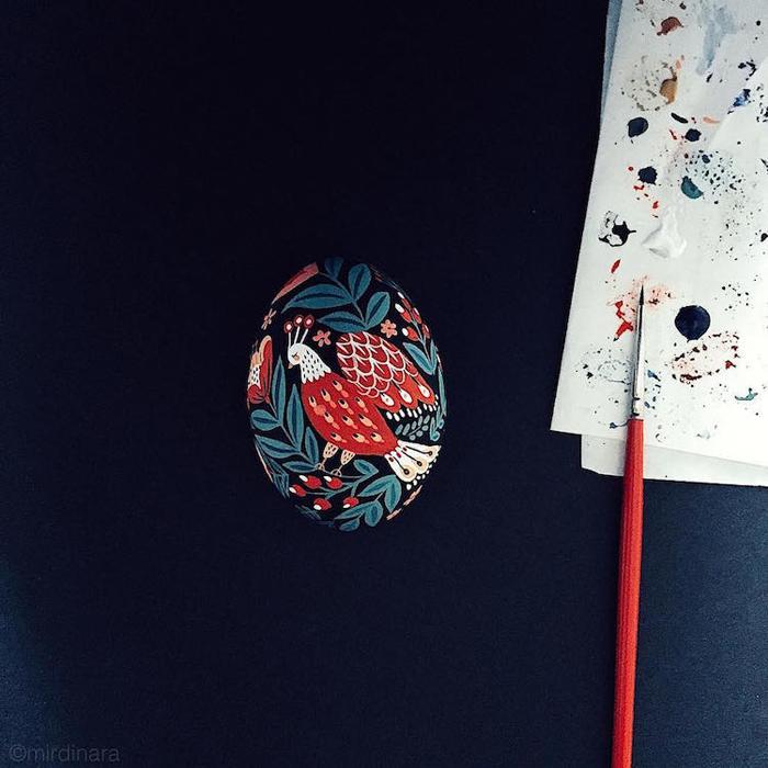 hand-painted easter egg black backdrop