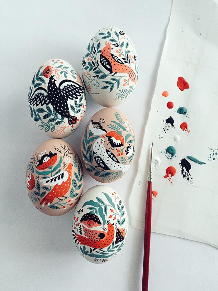 hand-painted easter eggs folk art