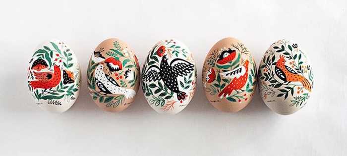 hand-painted easter eggs wood porcelain