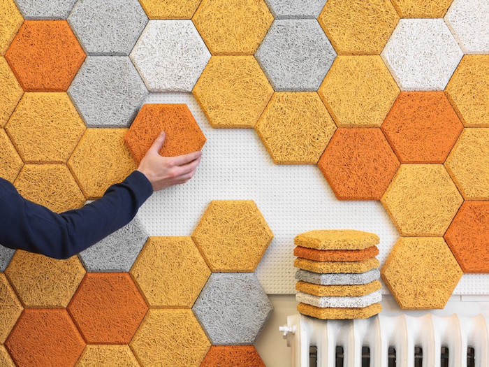 hexagonal wood wool modular panels