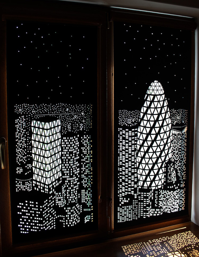 holeroll window blinds city lights