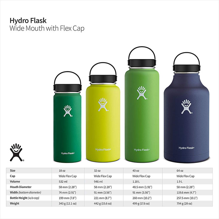 hydro flasks sizes