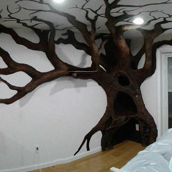 indoor fake tree design