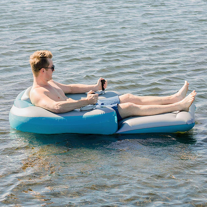 inflatable lounger in the sea