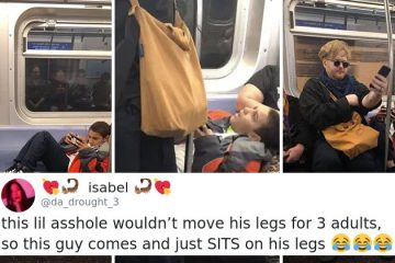 kid-refuses-to move his legs on metro