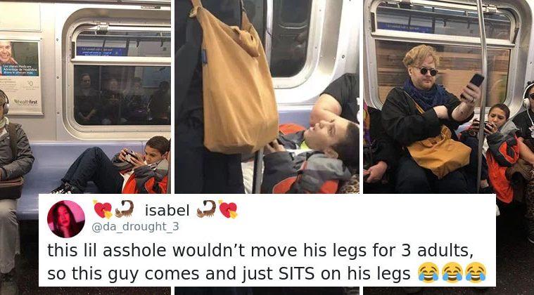 kid-refuses-to move his legs on metro