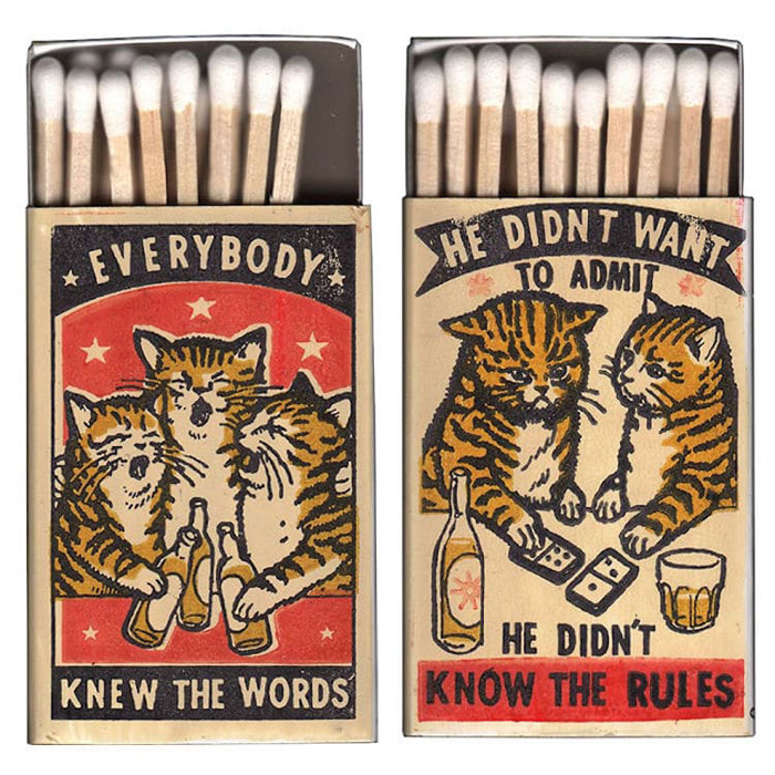 matchbox covers funny drunken cats