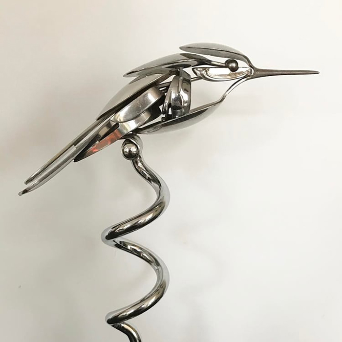 metal bird sculpture long coil