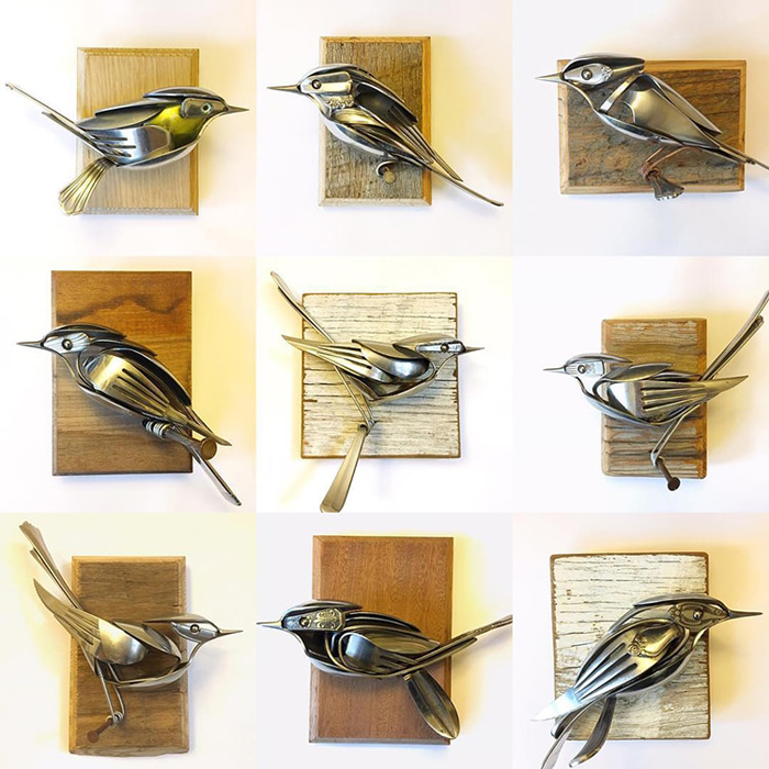 metal bird sculptures
