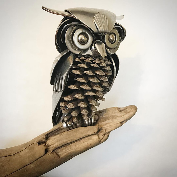 metal owl sculpture
