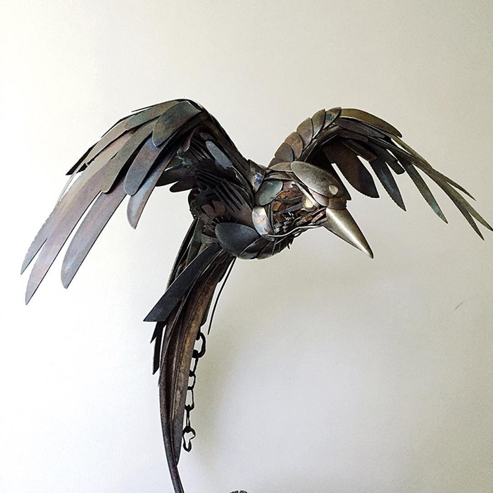 metal predatory bird sculpture