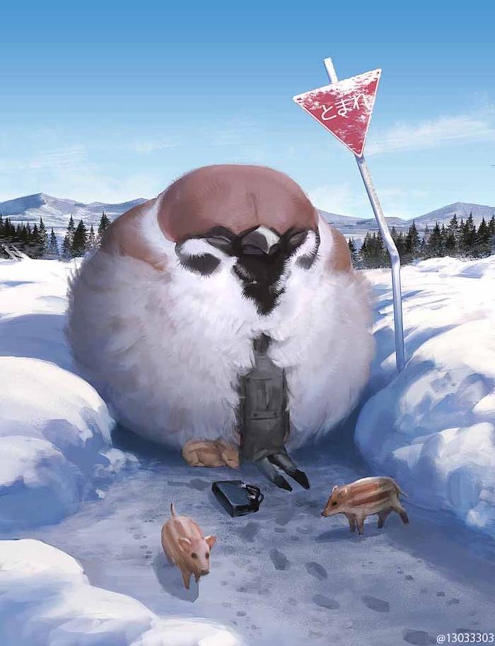 monokubo digital painting giant bird