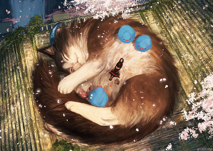 monokubo fantasy drawing giant cat