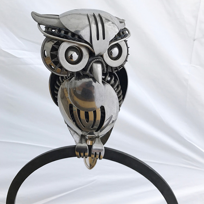 owl sculpture from metal