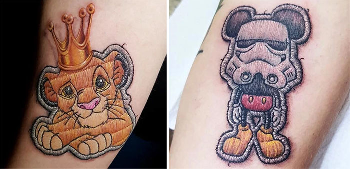 realistic embroidery tattoos