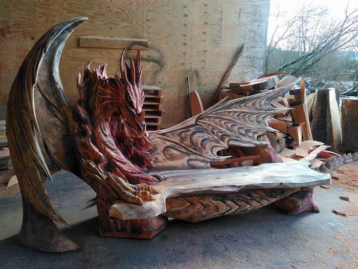 red-headed dragon bench