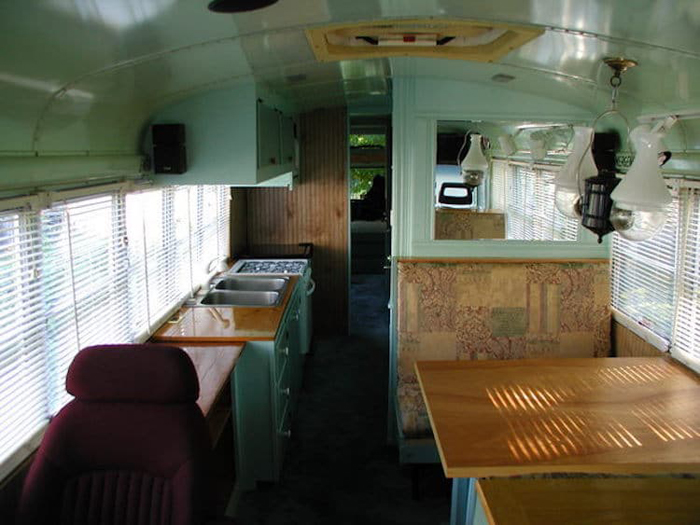 school bus conversion luxury interior