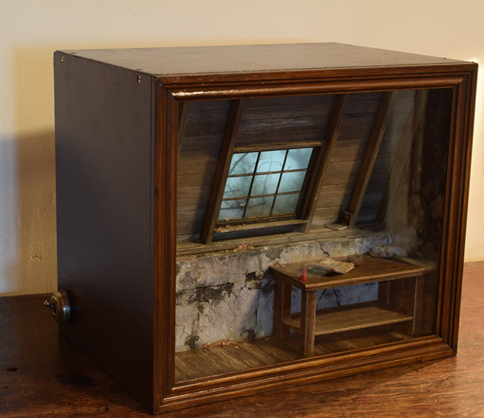 shadow box dioramas creepy attic