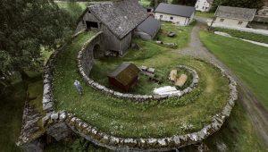 spiral walkway to barn