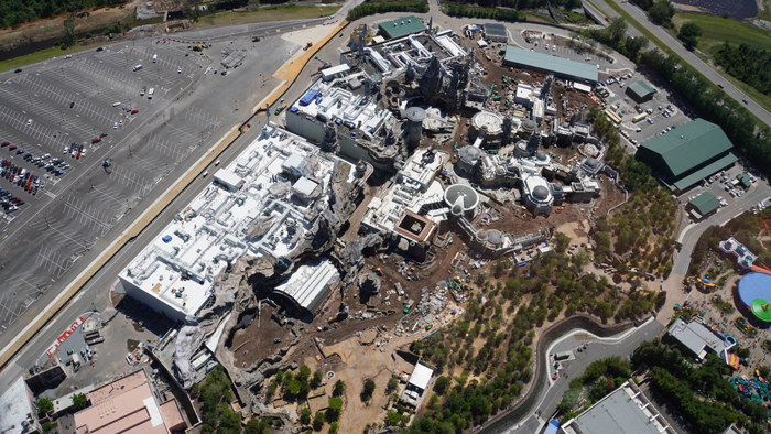star wars land disneyland aerial view