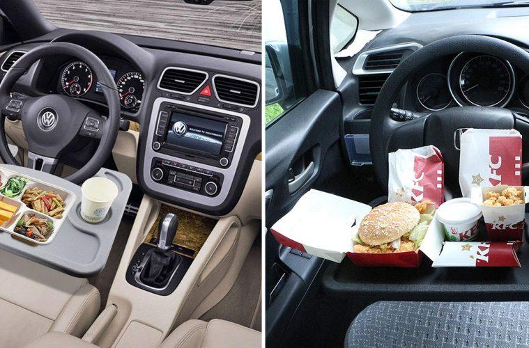 steering wheel table tray