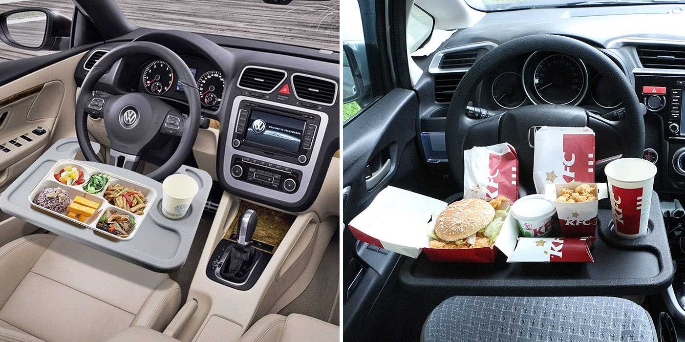 Smart Steering Wheel Tray Lets You Eat In The Comfort Of Your Car
