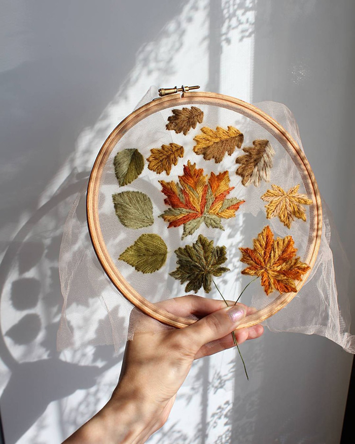 tulle embroidery autumn leaves